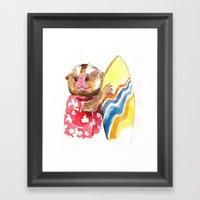 Surfs Up Little Monkey Framed Art Print