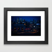 Blue Winter Lights Framed Art Print
