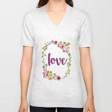Floral Wreath Watercolor - Love - by Sarah Jane Design Unisex V-Neck