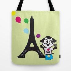 Puppy selfie in PARIS Tote Bag