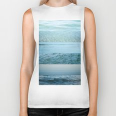 Water Study abstract blue waves Biker Tank
