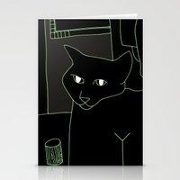 Neon Black Cat Shoulder … Stationery Cards