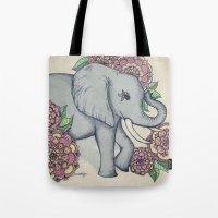 Little Elephant in soft vintage pastels Tote Bag