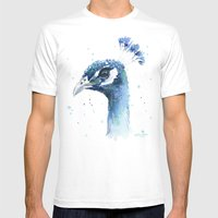 Peacock Watercolor Painting Mens Fitted Tee White SMALL