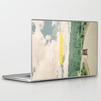 mountains Laptop & iPad Skins featuring NEVER STOP EXPLORING - vintage volkswagen van by Leslee Mitchell