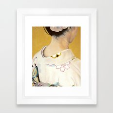 la fille au kimono - oil on canvas Framed Art Print