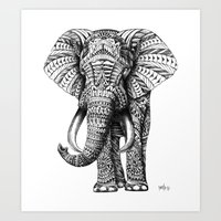 lion Art Prints featuring Ornate Elephant by BIOWORKZ