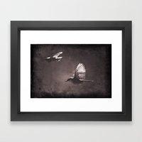 caught on a flight Framed Art Print