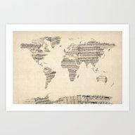 Old Sheet Music World Ma… Art Print