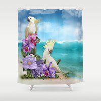 Tropical Landscape, Cockatoo Dreams Shower Curtain