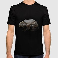 The Kodiak Brown Bear Black Mens Fitted Tee SMALL
