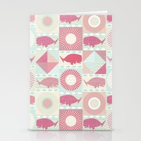 geo whales Stationery Cards