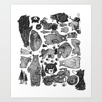 Bear And Motorcycles Art Print