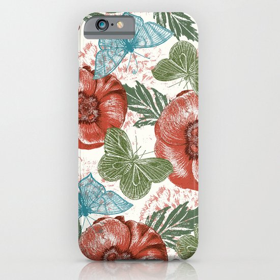 Poppies and Butterflies Pattern iPhone & iPod Case