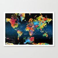 World Map Black Backgrou… Canvas Print