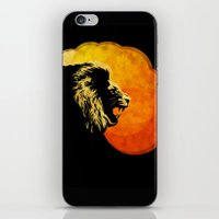 NIGHT PREDATOR : lion silhouette illustration print iPhone & iPod Skin