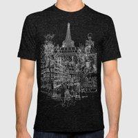 Paris B&W (Dark T-shirt … Mens Fitted Tee Tri-Black SMALL