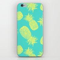 Pineapple Pattern - Turquoise & Lemon iPhone & iPod Skin