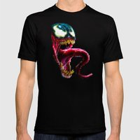 Venom Pixel : Black Background Mens Fitted Tee Black SMALL