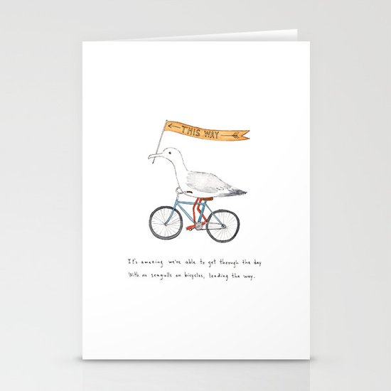 seagulls on bicycles Stationery Card