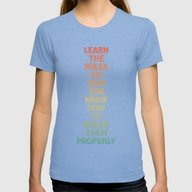 Life Lesson #5 Womens Fitted Tee Tri-Blue SMALL