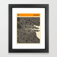 DUBLIN MAP Framed Art Print