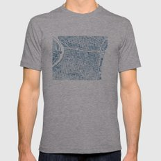 Philadelphia City Map Mens Fitted Tee Athletic Grey SMALL