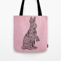 Tote Bag featuring Rabbit by Suburban Bird Designs