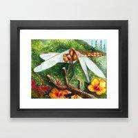 Amber Dragonfly Framed Art Print