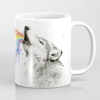 Wolf Rainbow Watercolor Mug