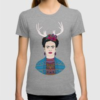 DEER FRIDA Womens Fitted Tee Tri-Grey SMALL