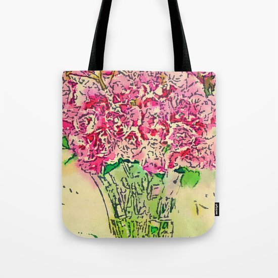 Coming Up Roses -- Pink Rose Flower Bouquet Waterlogue Paris Apt Chic Still Life Tote Bag