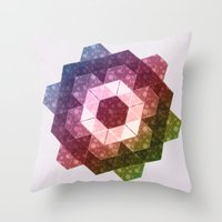 Patchwork Tiles IV (Rainbow flowers) Throw Pillow