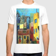 Barcelona Rooftops Mens Fitted Tee SMALL White