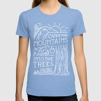 OVER THE MOUNTAINS (BW) Womens Fitted Tee Tri-Blue SMALL