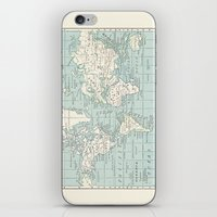 World Map in Blue and Cream iPhone & iPod Skin