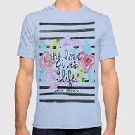 His Love  Mens Fitted Tee Athletic Blue SMALL