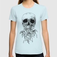 Vinyard Skull Womens Fitted Tee Light Blue SMALL