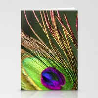 Gold and Lime Peacock Stationery Cards