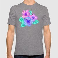 Hibiscus and Stripes Mens Fitted Tee Tri-Grey SMALL