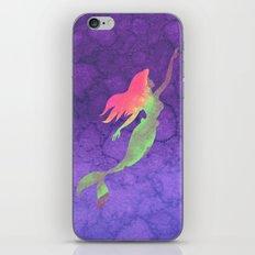 Ariel The Little Mermaid on Purple Watercolor iPhone & iPod Skin