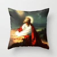 Digital Jesus Throw Pillow