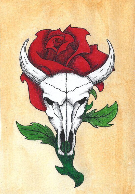Skull and Rose Art Print