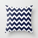 Chevron Navy Blue Throw Pillow