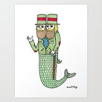 Portrait of a two headed merman Art Print