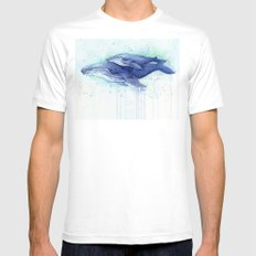 Humpback Whale Watercolor Mom and Baby Painting Mens Fitted Tee SMALL White
