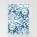 Lily, Leaf & Triangle Pattern – blues Stationery Cards
