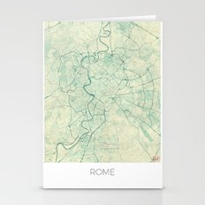 Rome Map Blue Vintage Stationery Cards