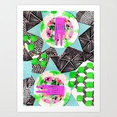 Mixed media textile pattern. Art Print