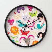 Zodiac and horoscope illustration theme Wall Clock